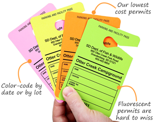 Parking Passes in Fluorescent Colors