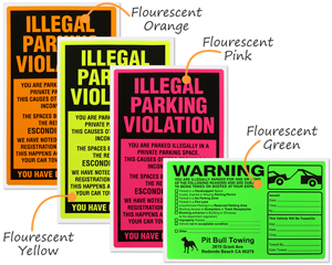 Fluorescent parking lot stickers