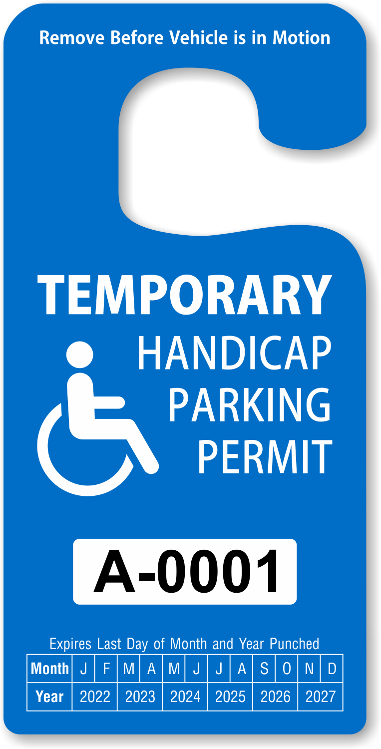 Where to get temporary car tags mva now offers better for Handicap parking sign template