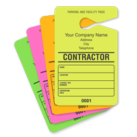 Contractor Parking Permit Hang Tag, with Address