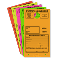 Temporary Parking Permit Mirror Hang Tag Pass