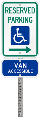 Indiana handicapped parking sign with details of the penalty for offenders