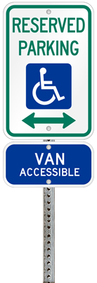 Kansas handicapped parking sign with details of the penalty for offenders