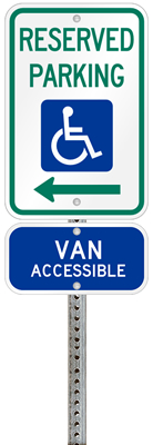 Louisiana handicapped parking sign with details of the penalty for offenders