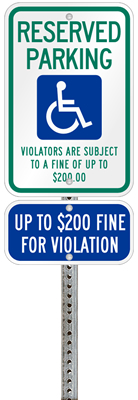 Minnesota handicapped parking sign with details of the penalty for offenders
