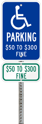 Missouri handicapped parking sign with details of the penalty for offenders