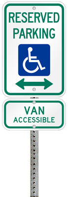 New York handicapped parking sign with details of the penalty for offenders