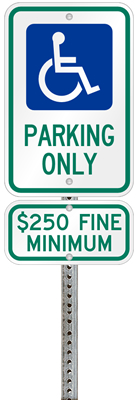 Ohio handicapped parking sign with details of the penalty for offenders