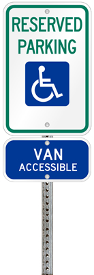 Oklahoma handicapped parking sign with details of the penalty for offenders