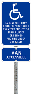 Oregon handicapped parking sign with details of the penalty for offenders