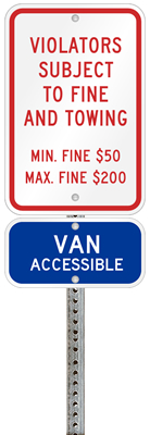 Pennsylvania handicapped parking sign with details of the penalty for offenders