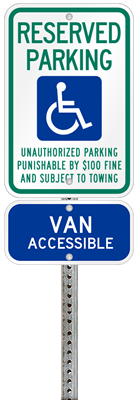 Tennessee handicapped parking sign with details of the penalty for offenders