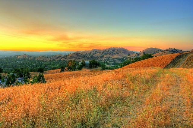 Sunset on hills near Walnut Creek, California