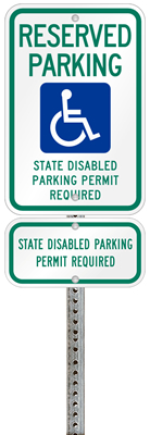 Washington handicapped parking sign with details of the penalty for offenders