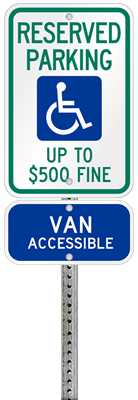 West Virginia handicapped parking sign with details of the penalty for offenders