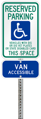 Wisconsin handicapped parking sign with details of the penalty for offenders