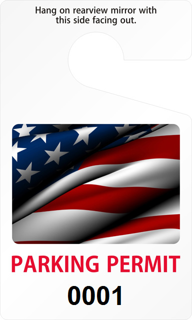 Parking permit with American flag