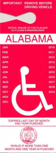 Alabama's disability access placard