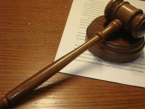 Judge's gavel on desk