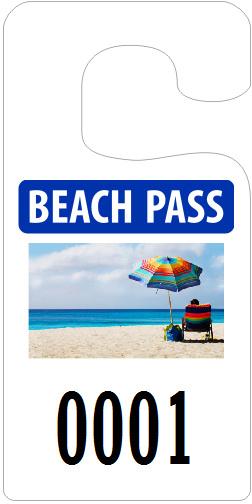 Beach pass parking hangtag