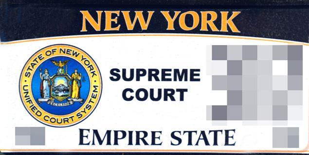 New York Supreme Court license plate