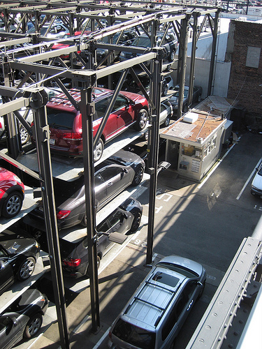 Cars in stack parking in New York