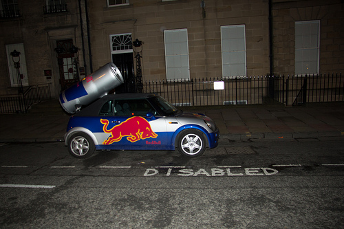 Red Bull Mini abusing a disabled parking space. Image by Stephen