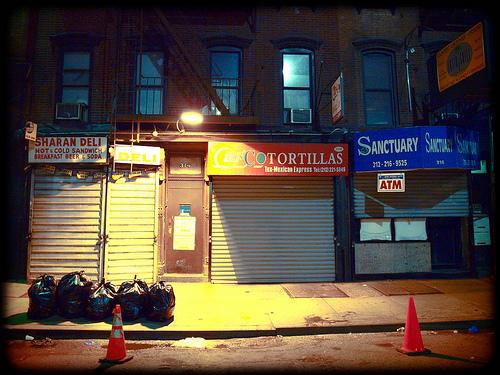 Cones mark parking in Manhattan