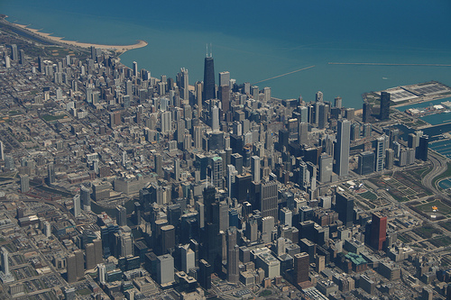 Downtown Chicago from the sky