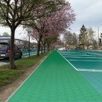 A parking lot paved for ecoparadise