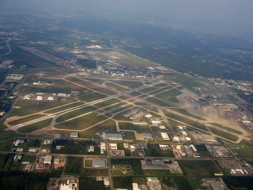 aerial view of hobby airport in houston